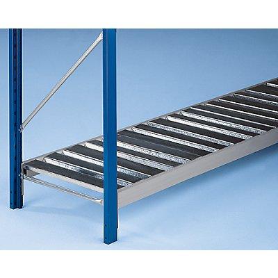 Weitspannregal-Fachebene, mit trapezförmigen Stahlauflagen - Traversenlänge 1800 mm