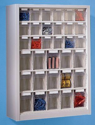 Klappkasten-Hängeschrank - HxBxT 910 x 665 x 250 mm, mit 33 Kästen