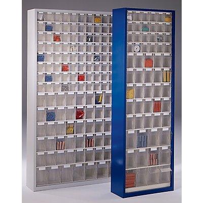 Lockweiler Magazinschrank aus Stahlblech - mit 61 transparenten Klappkästen, enzianblau