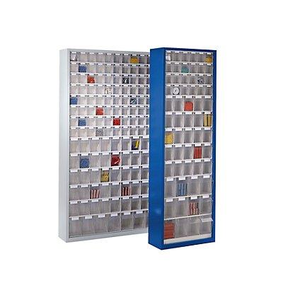 Lockweiler Magazinschrank aus Stahlblech - mit 154 transparenten Klappkästen, enzianblau