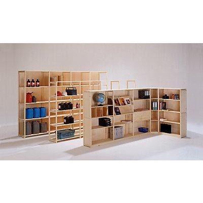 Rayonnage emboîtable en bois massif, peinture d'apprêt, surface dépolie - largeur tablettes 1300 mm, hauteur rayonnage 2080 mm