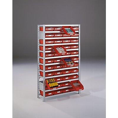 STEMO Steckregal für Regalkästen - HxB 1790 x 1000 mm - Grundregal, Tiefe 400 mm, ohne Kästen, Böden 9 Stk