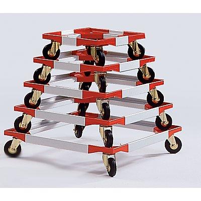 Fahrgestell, Kunststoffecken mit steckbaren Aluprofilen - 1210 x 810 mm - Polypropylenräder