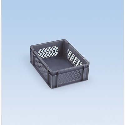 Euro-Format-Stapelbehälter, Wände durchbrochen, Boden geschlossen - LxBxH 600 x 400 x 120 mm