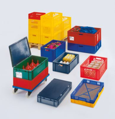 Euro-Format-Stapelbehälter, Wände durchbrochen, Boden geschlossen - LxBxH 800 x 600 x 320 mm