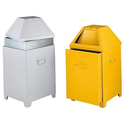 Flammverlöschender Abfallbehälter - mit abnehmbarem Oberteil - weißaluminium