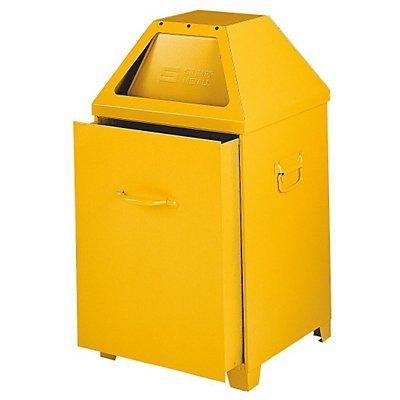 Abfallbehälter, selbstlöschend - mit 79 Liter Volumen, Einsatz herausziehbar - gelb