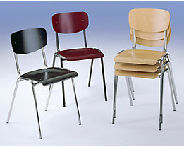 Chaise coque en bois, modèle classique - piétement chromé, lot de 4
