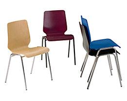Chaise coque en bois, assise et dossier d'un bloc - piétement peint, lot de 4