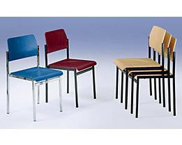 Chaise coque en bois - piétement chromé, lot de 4