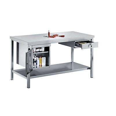 KEK Werkbank aus Edelstahl - 1 Unterbauschrank, 1 Schublade, 1 Fachboden voll