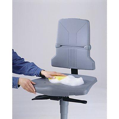 bimos Arbeitsdrehstuhl – SINTEC - Kunststoff, Standard-Ausführung - Fünffuß-Stahlrohrgestell mit Gleitern und Aufstieghilfe