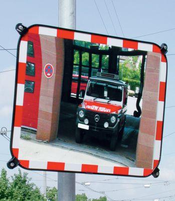 Verkehrsspiegel aus Sekurit-Glas - rahmenlos, mit rot/weiß reflektierenden Blickfangrand