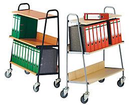 Chariot de classement avec 2 tablettes - L x l x h 850 x 350 x 1070 mm
