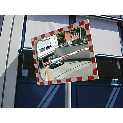 MORAVIA Verkehrsspiegel - Spiegel aus Sekurit, Rahmen aus Kunststoff, rot reflektierend