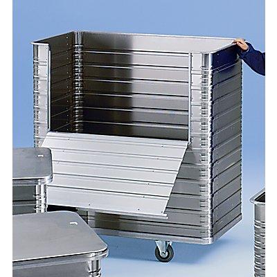 ZARGES Alu-Kastenwagen - Inhalt 1050 l - mit halb abklappbarer Seitenwand