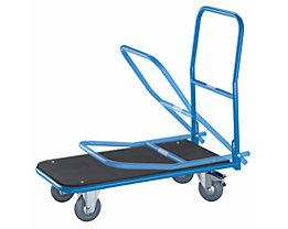 EUROKRAFT Plattform-Magazinwagen - mit klappbarem Schiebebügel