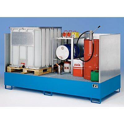Stahl-Auffangwanne für Tankcontainer - LxBxH 2650 x 1300 x 435 mm