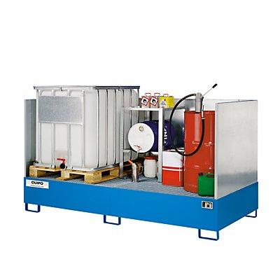 Stahl-Auffangwanne für Tankcontainer - LxBxH 2650 x 1300 x 435 mm - Auffangvolumen 1000 l, feuerverzinkt