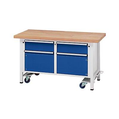 ANKE Montagewerkbank - fahrbar, mit 2 Schubladen und 2 Schränken - Breite 1500 mm