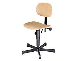Arbeitsdrehstuhl mit Holzsitz - mit Rollen