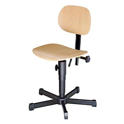 Arbeitsdrehstuhl mit Holzsitz - mit Bodengleitern
