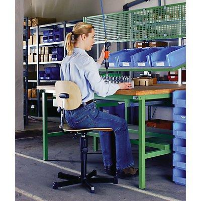 Arbeitsdrehstuhl mit Holzsitz - mit Rollen - Keilnut-Höhenverstellung 490 – 610 mm
