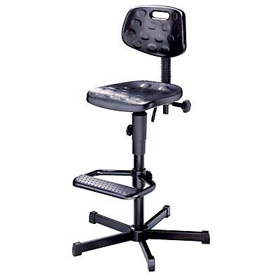 Arbeitsdrehstuhl mit PU-Schaum - mit Fußstütze - mit Bodengleitern und Fußstütze
