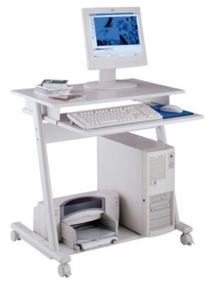 Computertisch - Breite 800 mm, 3 Ebenen - lichtgrau