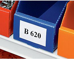 Etiketten - für faltbaren Regalkasten, Höhe 41 mm - Breite 66 mm, VE 100 Stk