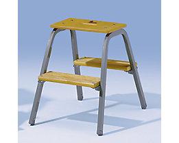 Stahlrohr-Tritt mit Holzstufen - ohne Rollen