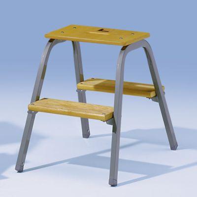 Stahlrohr-Tritt mit Holzstufen - ohne Rollen - 2 Stufen inkl.