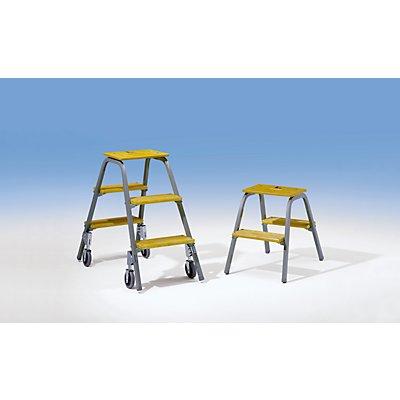 Günzburger Steigtechnik Stahlrohr-Tritt mit Holzstufen - mit 4 Bremsrollen