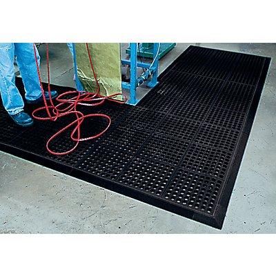 COBA Arbeitsplatzbodenbelag - mit gelochter Oberfläche, Naturkautschuk - 900 x 900 mm, schwarz
