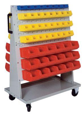 Fahrregal für Sichtlagerkästen - HxBxT 1410 x 1053 x 600 mm - lichtgrau RAL 7035