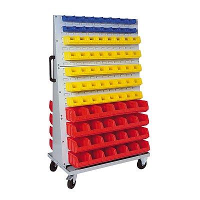 VIPA Sichtlagerkasten-Set - für Fahrregal HxBxT 1700 x 1053 x 600 mm - 32 x blau (0,4 l) + 80 x gelb (1 l) + 48 x rot (4,5 l)