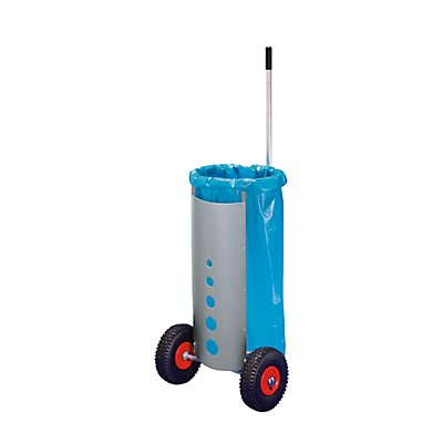Roule-poubelle pour sac de 120 l - hauteur h.t. 1500 mm - 2 roues souples pneumatiques