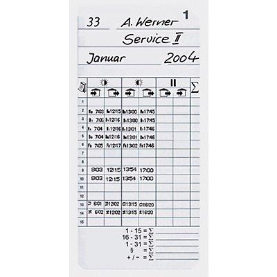 Stempelkarten - VE 500 Stk, HxB 184 x 85 mm - für Zeiterfassungsgerät K 600
