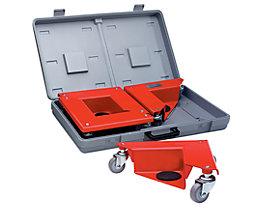 Transportrolly im handlichen Kunststoffkoffer - aus Stahlblech, für Lasten ohne Beine