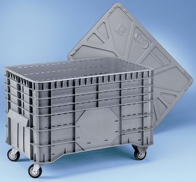 Großbehälter aus Polyethylen - Inhalt 300 l, 2 Lenk- und 2 Bockrollen