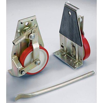 Hubroller - Räder mit Polyurethanbandage, Lieferumfang 2 Roller, 1 Hubstange - Tragfähigkeit 1000 kg / Garnitur