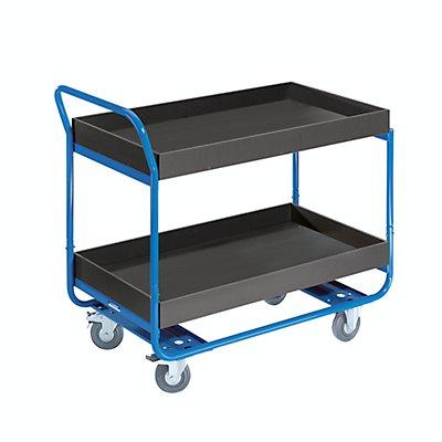 EUROKRAFT Tischwagen, Tragfähigkeit 150 kg - 2 Etagen, MDF-Platte, mit Aufkantung