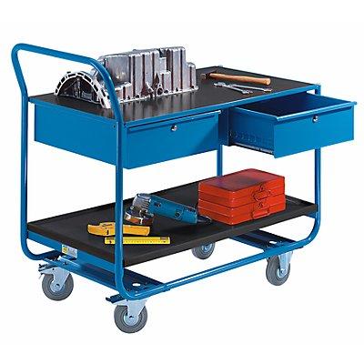 EUROKRAFT Industrie-Tischwagen - 2 Etagen, 2 Schubladen, Vollgummireifen spurlos