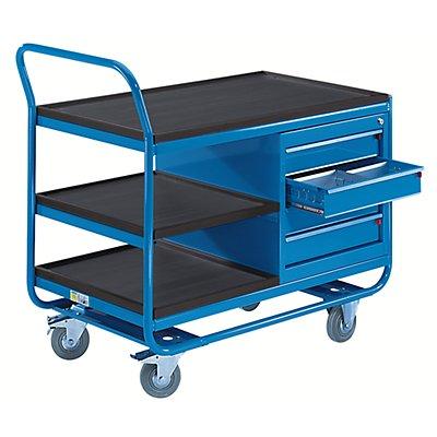 EUROKRAFT Industrie-Tischwagen - 3 Etagen, 1 Schubladenschrank - Vollgummireifen spurlos