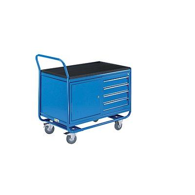 EUROKRAFT Industrie-Tischwagen - 1 Schubladenschrank, 1 Stahlblechschrank, Vollgummireifen spurlos