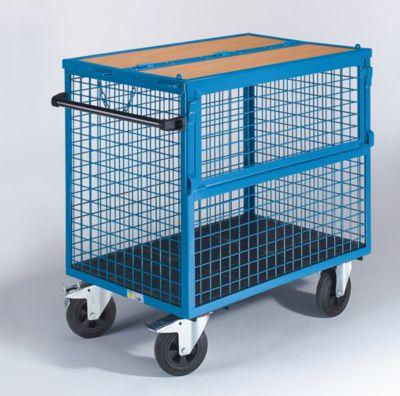 EUROKRAFT Kastenwagen - Wände aus Stahlgitter, mit Deckel - LxB 1050 x 700 mm