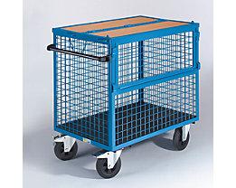 EUROKRAFT Chariot-caisse - panneaux grillagés en acier, avec couvercle