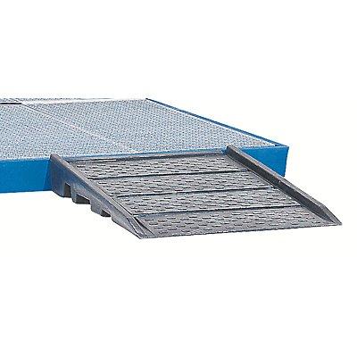 Auffahrrampe aus PE - für Kunststoff-Flachwanne - BxTxH 900 x 940 x 150 mm