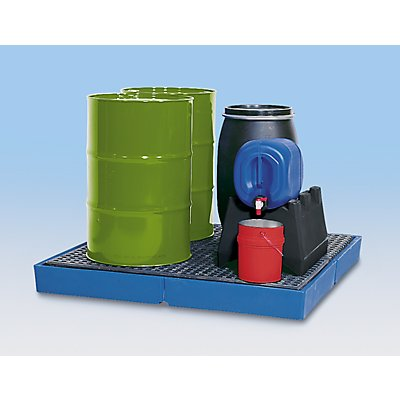 Asecos Kunststoff-Flachwanne - mit PE-Gitterrost