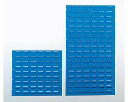 Plaque murale en tôle d'acier - pour accrochage de bacs, bleu clair RAL 5012